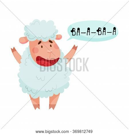 Fluffy Sheep With Open Mouth Making Baa Sound Isolated On White Background Vector Illustration