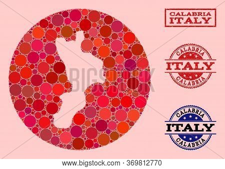 Vector Map Of Calabria Region Collage Of Round Elements And Red Scratched Stamp. Hole Round Map Of C