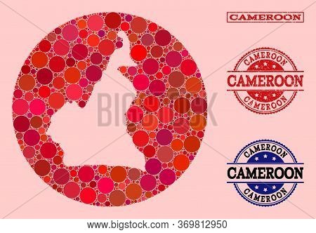 Vector Map Of Cameroon Mosaic Of Round Items And Red Grunge Seal. Stencil Circle Map Of Cameroon Col