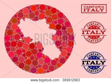 Vector Map Of Campania Region Collage Of Round Blots And Red Rubber Stamp. Subtraction Round Map Of