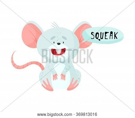 Little Mouse With Open Mouth Making Squeak Sound Isolated On White Background Vector Illustration