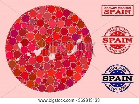 Vector Map Of Canary Islands Mosaic Of Spheric Blots And Red Grunge Seal Stamp. Subtraction Circle M