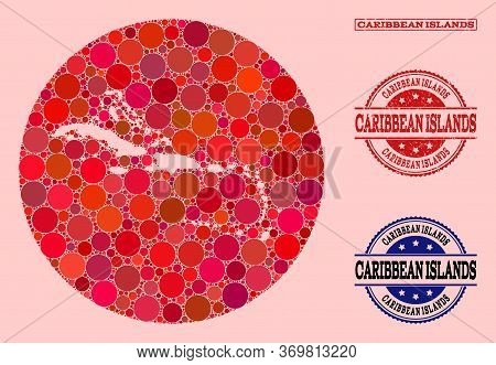 Vector Map Of Caribbean Islands Mosaic Of Circle Elements And Red Watermark Seal Stamp. Hole Circle