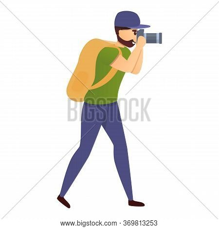 Tourist With Camera Icon. Cartoon Of Tourist With Camera Vector Icon For Web Design Isolated On Whit