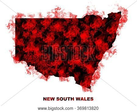 New South Wales Map Fire On White Background. Bushfire In Australia Wilderness. Save Australia Conce