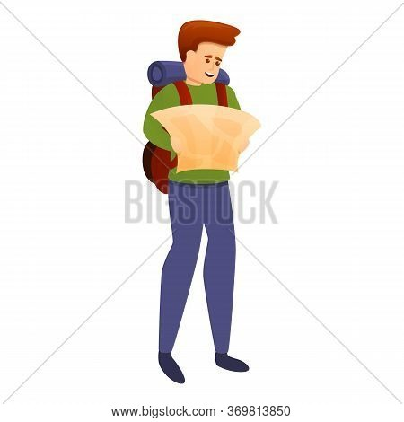 Adventurer With Map Icon. Cartoon Of Adventurer With Map Vector Icon For Web Design Isolated On Whit
