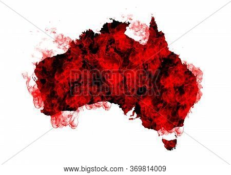 Australia Map Fire On White Background. Bushfire In Australia Wilderness. Save Australia Concept. Se