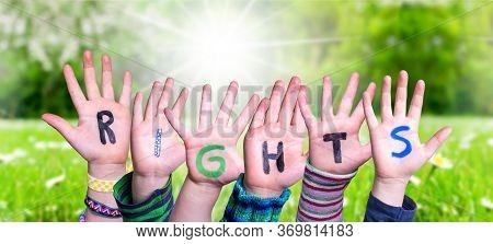 Children Hands Building Word Rights, Grass Meadow