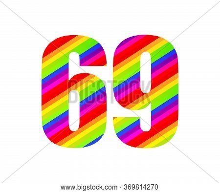 69 Number Rainbow Style Numeral Digit. Colorful Sixty Nine Number Vector Illustration Design Isolate