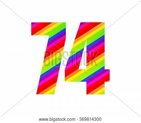 74 Number Rainbow Style Numeral Digit. Colorful Seventy Four Number Vector Illustration Design Isola
