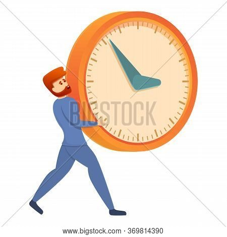 Man Carry Clock Icon. Cartoon Of Man Carry Clock Vector Icon For Web Design Isolated On White Backgr