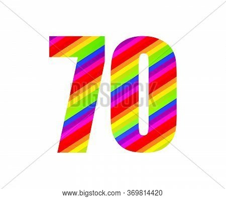 70 Number Rainbow Style Numeral Digit. Colorful Seventy Number Vector Illustration Design Isolated O