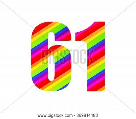 61 Number Rainbow Style Numeral Digit. Colorful Sixty One Number Vector Illustration Design Isolated