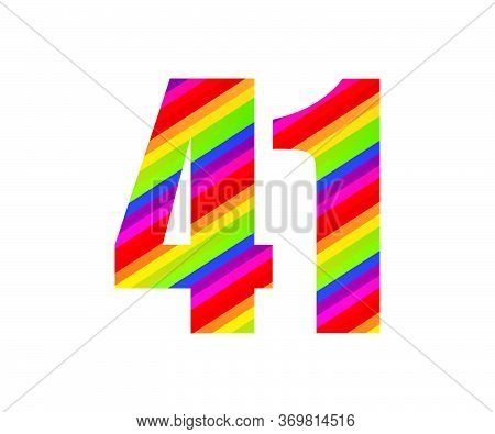 41 Number Rainbow Style Numeral Digit. Colorful Forty One Number Vector Illustration Design Isolated