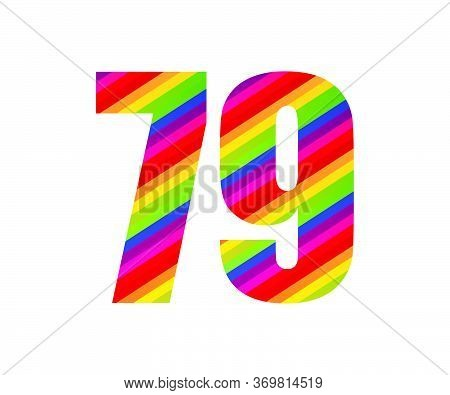 79 Number Rainbow Style Numeral Digit. Colorful Seventy Nine Number Vector Illustration Design Isola