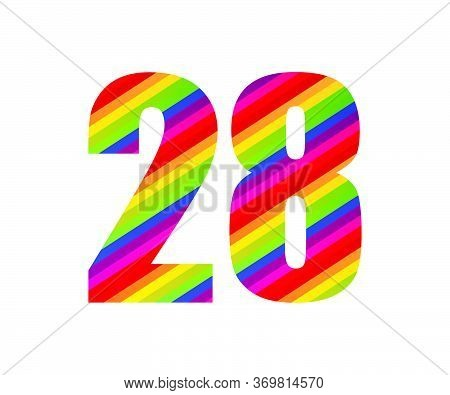 28 Number Rainbow Style Numeral Digit. Colorful Number Vector Illustration