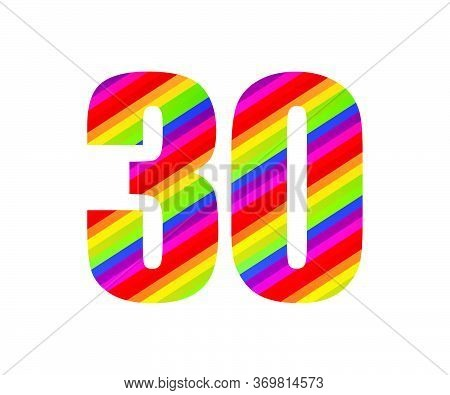 30 Number Rainbow Style Numeral Digit. Colorful Thirty Number Vector Illustration Design Isolated On