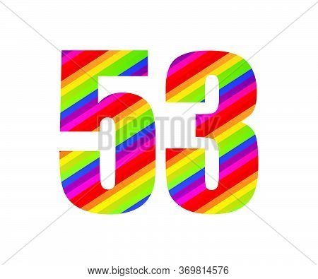 53 Number Rainbow Style Numeral Digit. Colorful Fifty Three Number Vector Illustration Design Isolat