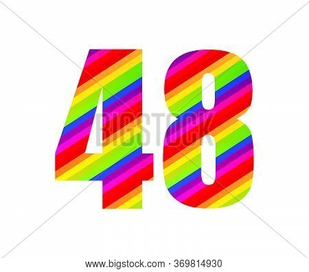 48 Number Rainbow Style Numeral Digit. Colorful Forty Eight Number Vector Illustration Design Isolat