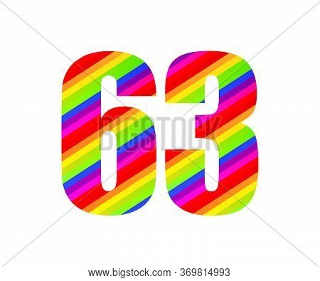 63 Number Rainbow Style Numeral Digit. Colorful Sixty Three Number Vector Illustration Design Isolat