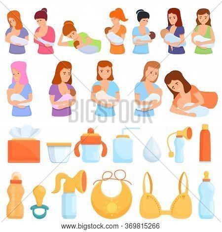 Breast-feeding Icons Set. Cartoon Set Of Breast-feeding Vector Icons For Web Design
