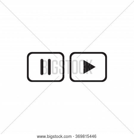 Pause, Play Button Icon Isolated On White Background. Pause, Play Button Icon In Trendy Design Style