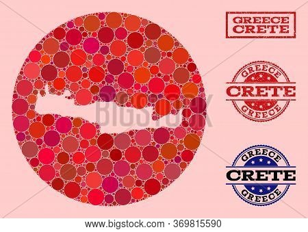 Vector Map Of Crete Island Collage Of Circle Items And Red Watermark Stamp. Stencil Circle Map Of Cr