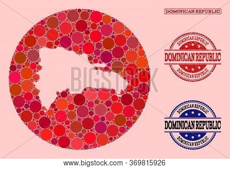 Vector Map Of Dominican Republic Collage Of Round Elements And Red Rubber Stamp. Subtraction Round M