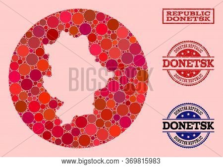 Vector Map Of Donetsk Republic Collage Of Round Blots And Red Grunge Seal Stamp. Stencil Round Map O
