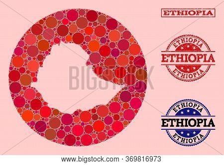 Vector Map Of Ethiopia Mosaic Of Spheric Dots And Red Watermark Seal. Stencil Round Map Of Ethiopia