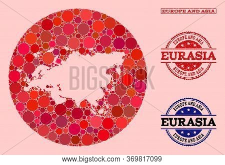 Vector Map Of Europe And Asia Collage Of Round Blots And Red Watermark Stamp. Subtraction Round Map
