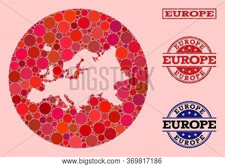 Vector Map Of Europe Collage Of Circle Elements And Red Scratched Stamp. Subtraction Circle Map Of E