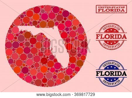 Vector Map Of Florida State Collage Of Round Spots And Red Rubber Stamp. Subtraction Round Map Of Fl