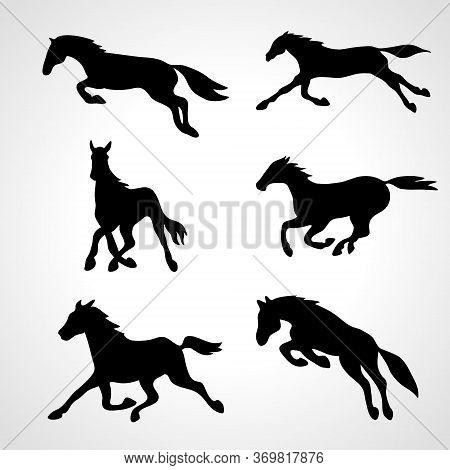 Running Horse. Set Of Black Stallion Silhouettes. Horses Collection. Vector Illustration. Eps 10