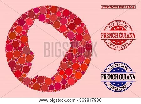 Vector Map Of French Guiana Collage Of Round Blots And Red Rubber Seal. Hole Round Map Of French Gui