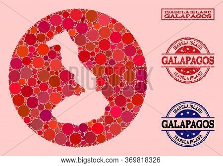 Vector Map Of Galapagos - Isabela Island Mosaic Of Circle Dots And Red Watermark Stamp. Stencil Circ