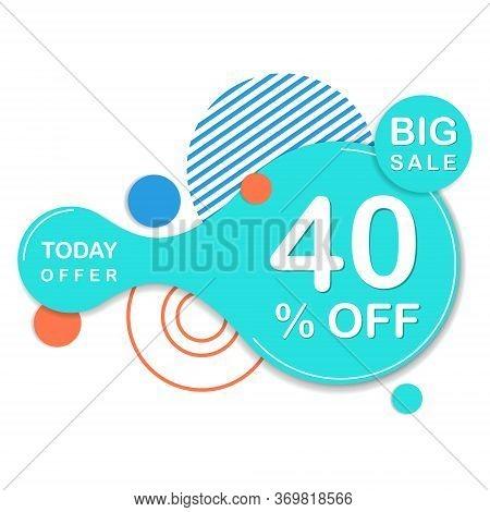 Special Offer 40 Off Round Sticker. Vector Sale Banner