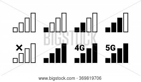 Signal Strength Indicator Set, Mobile Phone Bar Status Icon. No Signal Symbol, 4g And 5g Network Con