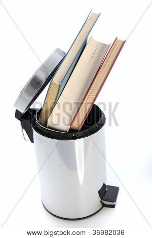 Waste Paper Bin Filled With Books