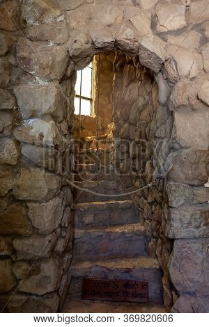 Hararit, Israel, May 30, 2020 : Ropes From Bells And Steps Leading To The Bell Tower In The Lavra Ne