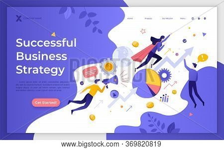 Landing Page Template With Flying Office Workers, And Ascending Arrow Chart. Successful Business Str