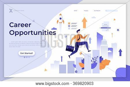 Landing Page Template With Employee Or Clerk Walking On Ascending Diagram Or Stairs. Career Or Job O