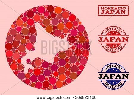 Vector Map Of Hokkaido Island Collage Of Round Elements And Red Watermark Stamp. Subtraction Circle