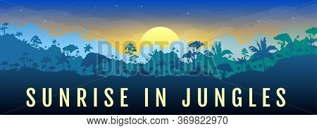 Sunrise In Jungles Flat Color Vector Banner Template. Dawn In Forest. Panoramic View On Exotic Woods
