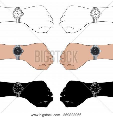 Set Of Three Options For Left And Right Hands With Classic Man Wristwatches: Color, Outline, Silhoue