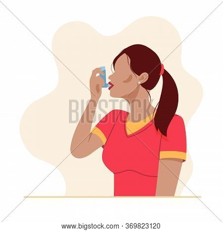 Woman Uses An Asthma Inhaler Against An Allergic Attack. World Asthma Day. Allergy, Asthmatic. Inhal