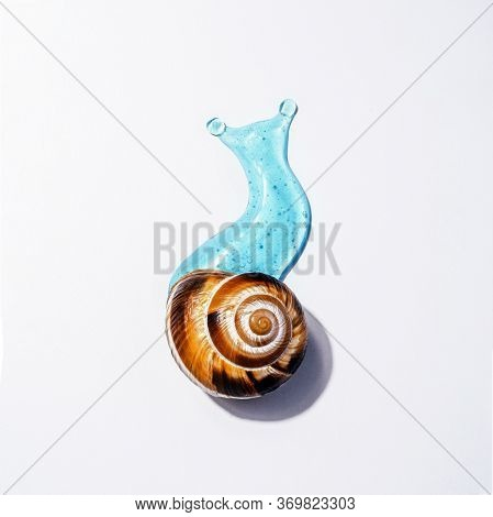 Creative Image Of Cosmetics With Snail Mucus. Art Concept Of Natural Respectful Facial And Body Care