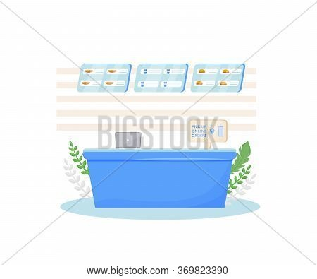 Online Orders Pick Up Place, Fast Food Cafe Checkout Cartoon Vector Illustration. Prepared Eating Or
