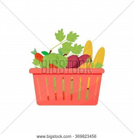 Products In Shopping Basket Cartoon Vector Illustration. Baguette, Fruits And Vegetables Flat Color