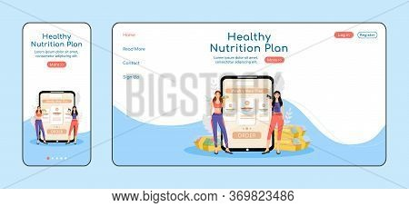 Healthy Nutrition Plan Adaptive Landing Page Flat Color Vector Template. Dietary Menu Mobile And Pc